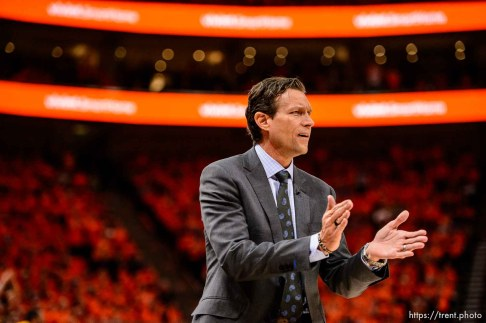 (Trent Nelson | The Salt Lake Tribune) Utah Jazz host the Oklahoma City Thunder, Game 3, NBA playoff basketball in Salt Lake City, Saturday April 21, 2018. Utah Jazz head coach Quin Snyder.