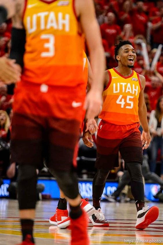 (Trent Nelson | The Salt Lake Tribune) Utah Jazz host the Oklahoma City Thunder, Game 3, NBA playoff basketball in Salt Lake City, Saturday April 21, 2018. Utah Jazz guard Donovan Mitchell (45).