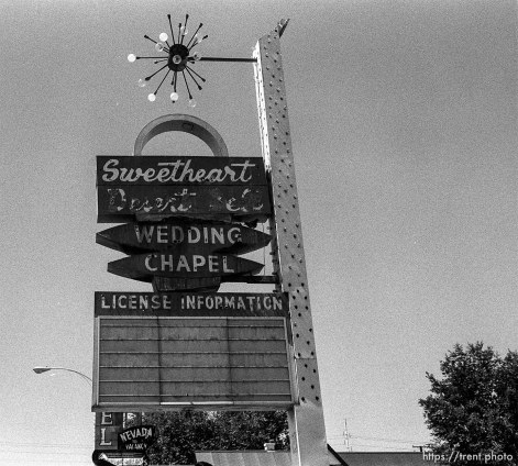 Sweetheart desert bell wedding chapel sign.