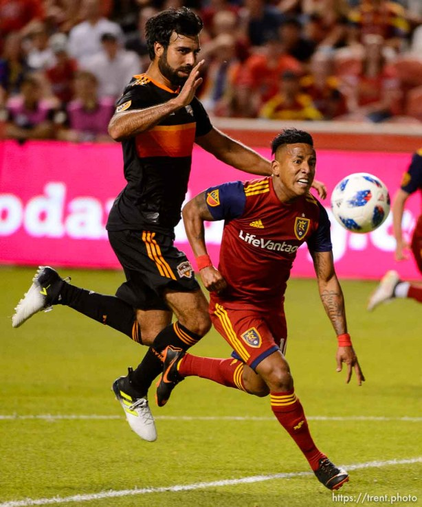 (Trent Nelson | The Salt Lake Tribune) Real Salt Lake forward Joao Plata (10) makes a run on goal as Real Salt Lake hosts Houston Dynamo, MLS Soccer at Rio Tinto Stadium in Sandy, Utah, Wednesday May 30, 2018.
