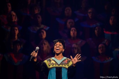 "(Trent Nelson | The Salt Lake Tribune) The dress rehearsal for ""Be One,"" an event put on by the LDS Church to celebrate the 1978 revelation on the priesthood on its 40th anniversary (which is June 1), in Salt Lake City, Thursday May 31, 2018. Gladys Knight."