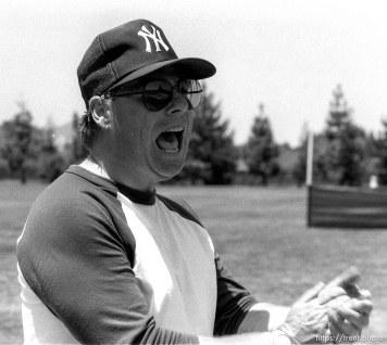 Coach at Yankee baseball game