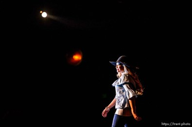 (Trent Nelson | The Salt Lake Tribune) Taylor Lindsey Preece during the fashion show of the Miss Utah Rodeo pageant at the Ogden Eccles Conference Center, Monday July 23, 2018.