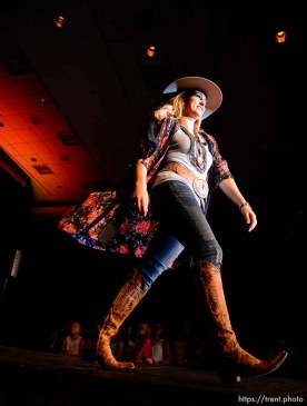(Trent Nelson | The Salt Lake Tribune) Shianne Lowe during the fashion show of the Miss Utah Rodeo pageant at the Ogden Eccles Conference Center, Monday July 23, 2018.
