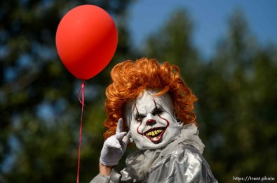 (Trent Nelson | The Salt Lake Tribune) The Days of '47 Parade in Salt Lake City, Tuesday July 24, 2018. Pennywise the clown.