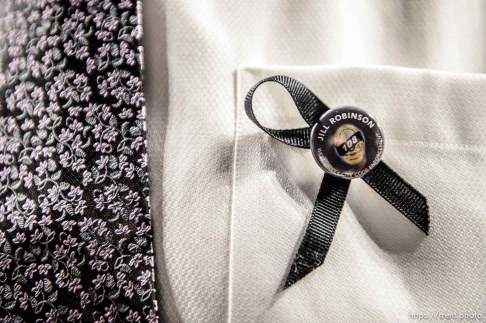 (Trent Nelson | The Salt Lake Tribune) A ribbon at funeral services for Jill Robinson, a West Valley City code-enforcement officer killed on the job last week. The service took place at the Maverik Center in West Valley City on Friday Aug. 17, 2018.