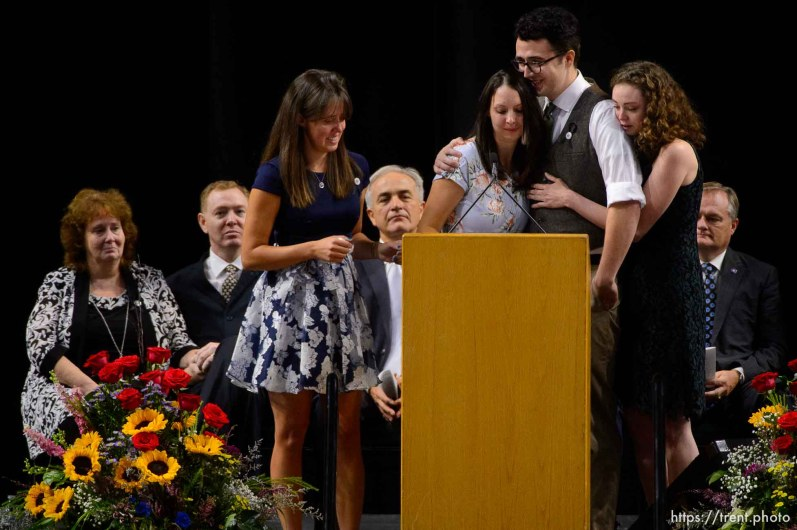 (Trent Nelson | The Salt Lake Tribune) Jill Robinson's children, Katie Merrill, Jessica Knorr, Riley Merrill, and Halie Merril speak at funeral services for Jill, a West Valley City code-enforcement officer killed on the job last week. The service took place at the Maverik Center in West Valley City on Friday Aug. 17, 2018.