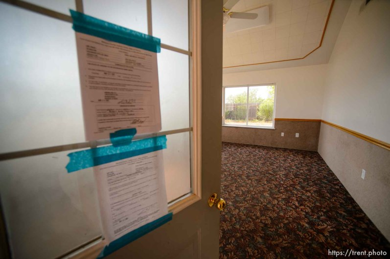Trent Nelson | The Salt Lake Tribune An empty UEP Trust home in Colorado City, AZ, vacated by an FLDS family as eviction loomed, Monday May 8, 2017.