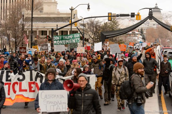 (Trent Nelson | The Salt Lake Tribune) Protesters march down State Street after a rally against a visit by President Donald Trump, Monday December 4, 2017.