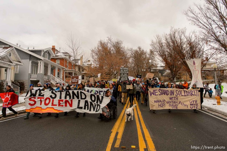 (Trent Nelson   The Salt Lake Tribune) Protesters march down State Street during rally against a visit by President Donald Trump, Monday December 4, 2017.