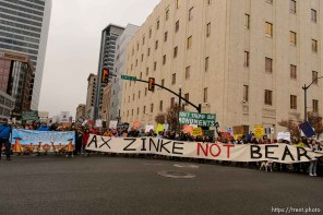 (Trent Nelson   The Salt Lake Tribune) Protesters block off an intersection downtown after a rally against a visit by President Donald Trump, Monday December 4, 2017.