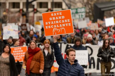 (Trent Nelson   The Salt Lake Tribune) Protesters march down State Street after a rally against a visit by President Donald Trump, Monday December 4, 2017.