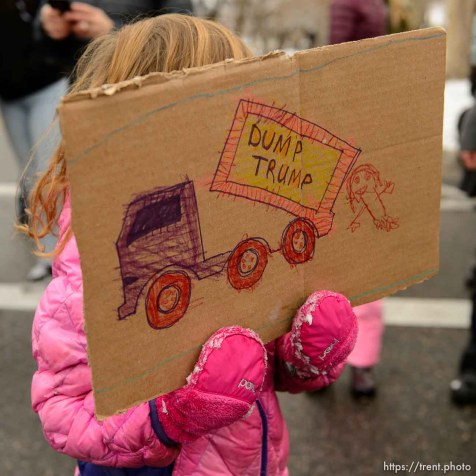 (Trent Nelson | The Salt Lake Tribune) Protesters rally against a visit by President Donald Trump, Monday December 4, 2017.