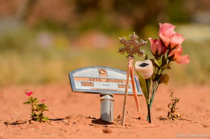 Trent Nelson | The Salt Lake Tribune grave markers for jessop family victims of 2015 flash flood, isaac carling cemetery, Wednesday September 14, 2016. ruth jessop