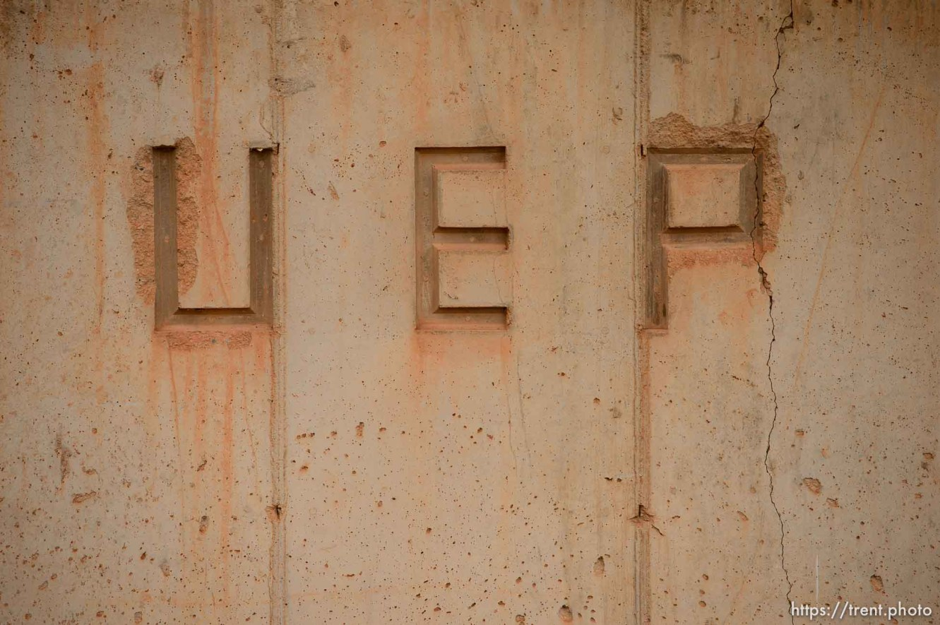 Trent Nelson   The Salt Lake Tribune UEP - United Effort Plan - engraved into a concrete wall in Colorado City, Ariz., Tuesday May 9, 2017.