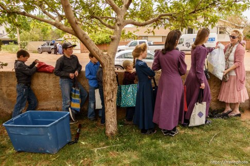 Trent Nelson | The Salt Lake Tribune Christine Marie Katas hands out relief kits to FLDS children facing eviction in Colorado City, AZ, Tuesday May 9, 2017.