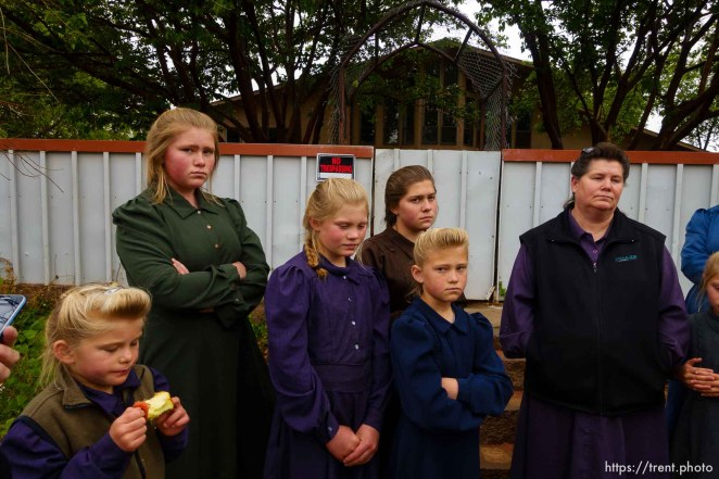 Trent Nelson | The Salt Lake Tribune UEP eviction of property at 345 N Richard St, Colorado City, AZ, Wednesday May 10, 2017. FLDS mother Lydia Bateman with some of her children and grandchildren after being evicted from her home.