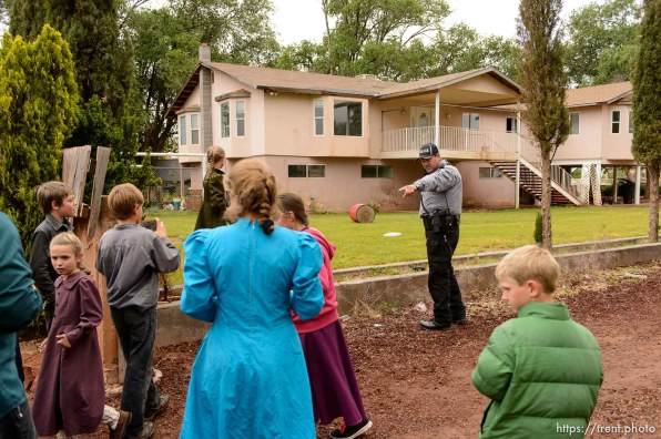 Trent Nelson | The Salt Lake Tribune UEP eviction of property at 555 N Lauritzen Ave, Colorado City, AZ, Wednesday May 10, 2017. Marshal Sam Johnson tells FLDS children to leave the property.