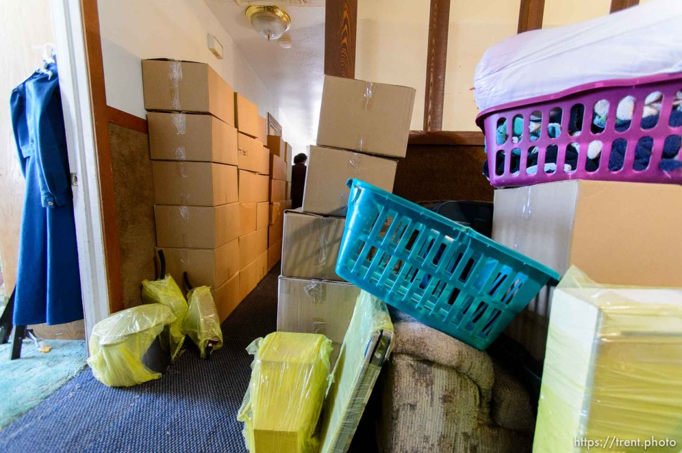 Trent Nelson   The Salt Lake Tribune An FLDS family's belongings are boxed up in preparation for a move after the Hildale home was posted for eviction by the UEP Trust, Thursday May 11, 2017.