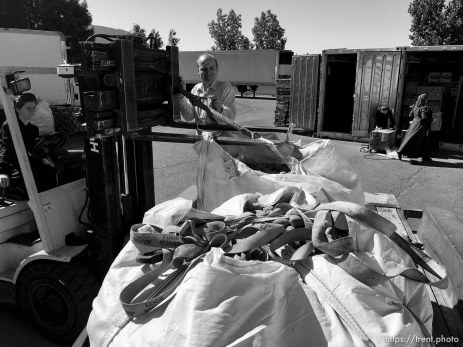 Trent Nelson | The Salt Lake Tribune The Kingstons are loading donations onto a truck for delivery to needy FLDS in Short Creek , Saturday July 15, 2017.