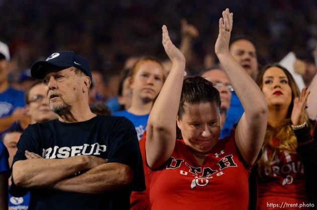 (Trent Nelson   The Salt Lake Tribune) Fans react to a call going in Utah's favor as BYU hosts Utah, NCAA football in Provo, Saturday September 9, 2017.