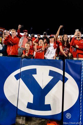 (Trent Nelson | The Salt Lake Tribune) Utah fans celebrate the win as BYU hosts Utah, NCAA football in Provo, Saturday September 9, 2017.