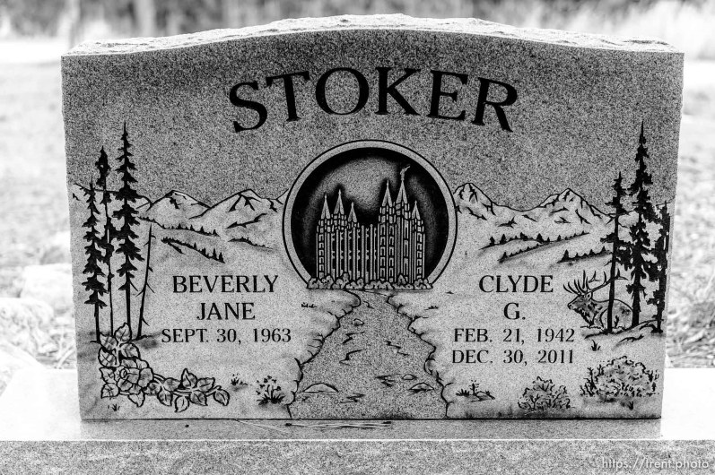 (Trent Nelson | The Salt Lake Tribune) Stoker, Cemetery, Pinesdale, Saturday September 30, 2017.