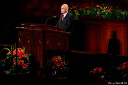 (Trent Nelson | The Salt Lake Tribune) Dallin H. Oaks speaks at the General Conference of The Church of Jesus Christ of Latter-day Saints in Salt Lake City, Saturday Oct. 6, 2018.
