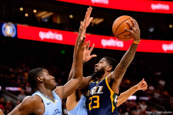 (Trent Nelson | The Salt Lake Tribune) Utah Jazz forward Royce O'Neale (23). Utah Jazz vs Memphis Grizzlies, NBA basketball in Salt Lake City on Friday Nov. 2, 2018.