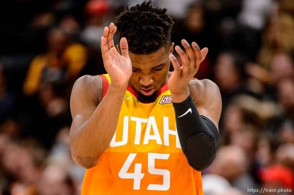 (Trent Nelson   The Salt Lake Tribune) Utah Jazz guard Donovan Mitchell (45). Utah Jazz vs. Boston Celtics, NBA basketball in Salt Lake City on Friday Nov. 9, 2018.