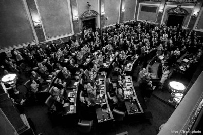 (Trent Nelson | The Salt Lake Tribune) A full House Chamber stands and applauds families who lost loved ones in law enforcement, military and public service as Governor Gary Herbert delivers his State of the State address at the Utah Capitol in Salt Lake City on Wednesday Jan. 30, 2019.