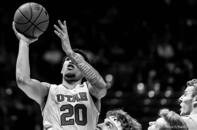 (Trent Nelson | The Salt Lake Tribune) Utah Utes forward Timmy Allen (20) shoots as Utah hosts Oregon State, NCAA basketball in Salt Lake City on Saturday Feb. 2, 2019.