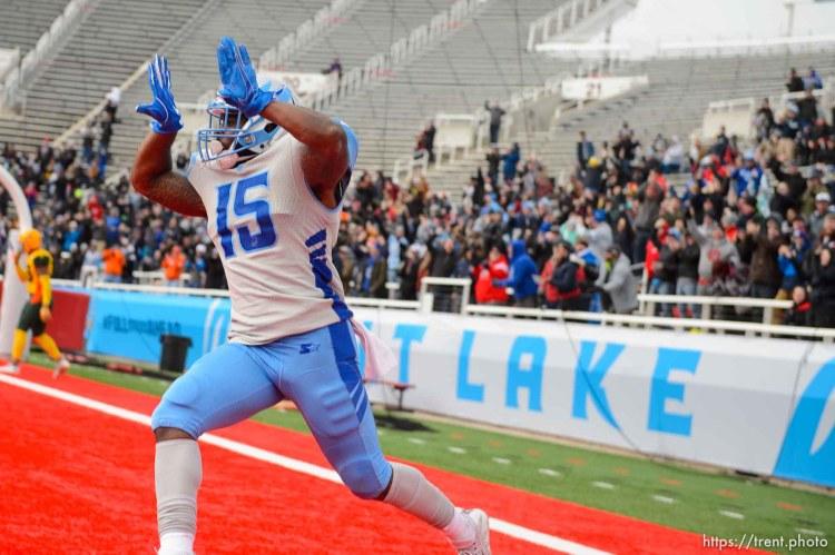 (Trent Nelson | The Salt Lake Tribune) Salt Lake's De'Mornay Pierson-El (15) celebrates a touchdown as the Salt Lake Stallions host the Arizona Hotshots, Alliance of American Football in Salt Lake City on Saturday Feb. 23, 2019.