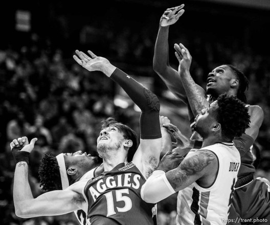 (Trent Nelson | The Salt Lake Tribune) Auburn faces New Mexico State in the 2019 NCAA Tournament in Salt Lake City on Thursday March 21, 2019.