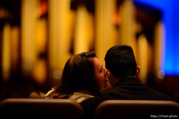 (Trent Nelson   The Salt Lake Tribune) A kiss received during the morning session of the189th Annual General Conference of The Church of Jesus Christ of Latter-day Saints in Salt Lake City on Sunday April 7, 2019.