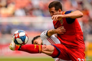 (Trent Nelson | The Salt Lake Tribune) Real Salt Lake defender Aaron Herrera (22) and Toronto FC midfielder Jonathan Osorio (21) as Real Salt Lake hosts Toronto FC, MLS Soccer at Rio Tinto Stadium in Sandy on Saturday May 18, 2019.
