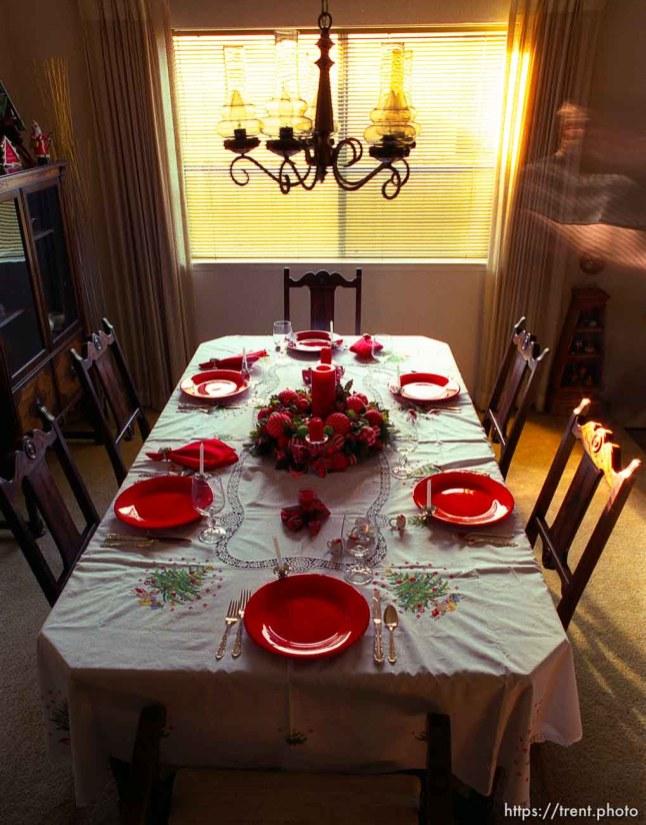 Christmas dinner table, 1987.