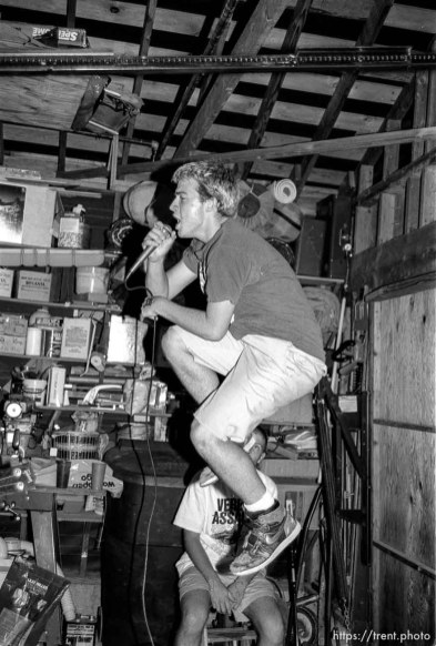 Rabid Lassie practice in Wade's garage.