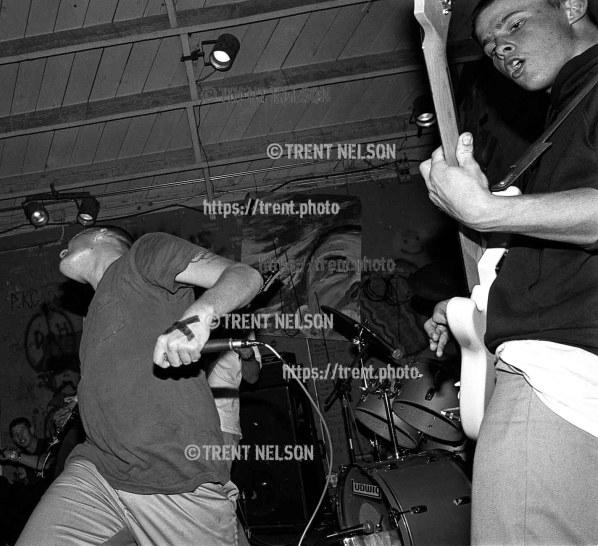 No For An Answer performs at Gilman Street, Berkeley, California. Dan O'Mahoney at left.