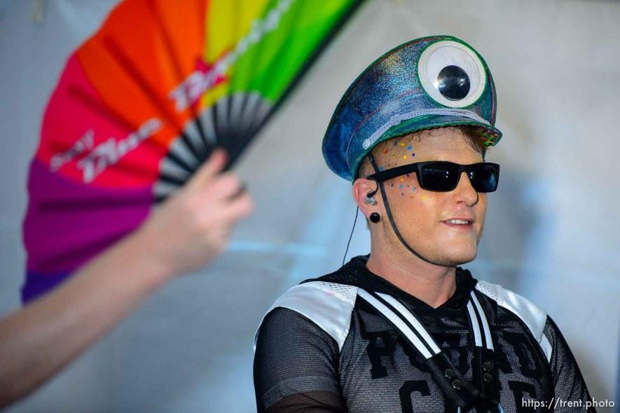 (Trent Nelson | The Salt Lake Tribune) DJ Flame Fatale works up a sweat at the Utah Pride Festival in Salt Lake City on Saturday June 1, 2019.