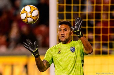(Trent Nelson | The Salt Lake Tribune) San Jose Earthquakes goalkeeper Daniel Vega (17) makes a save as Real Salt Lake hosts the San Jose Earthquakes, MLS soccer at Rio Tinto Stadium in Sandy on Wednesday Sept. 11, 2019.