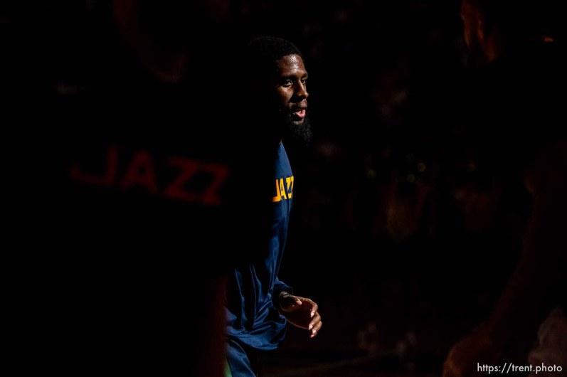 (Trent Nelson | The Salt Lake Tribune) as the Utah Jazz hosts the Sacramento Kings, NBA basketball in Salt Lake City on Monday Oct. 14, 2019.