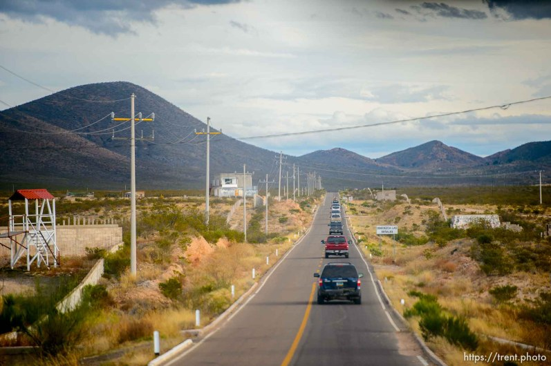 (Trent Nelson | The Salt Lake Tribune) A convoy of family members makes its way to La Mora, Sonora, with an escort of vehicles from the federal police and Mexican military on Wednesday Nov. 6, 2019.