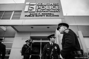 (Trent Nelson | The Salt Lake Tribune) The David P. Romrell Public Safety Building in South Salt Lake on Sunday Nov. 24, 2019. The building is named after Officer Romrell, who was killed in the line of duty on Nov. 24, 2018 - one year ago.