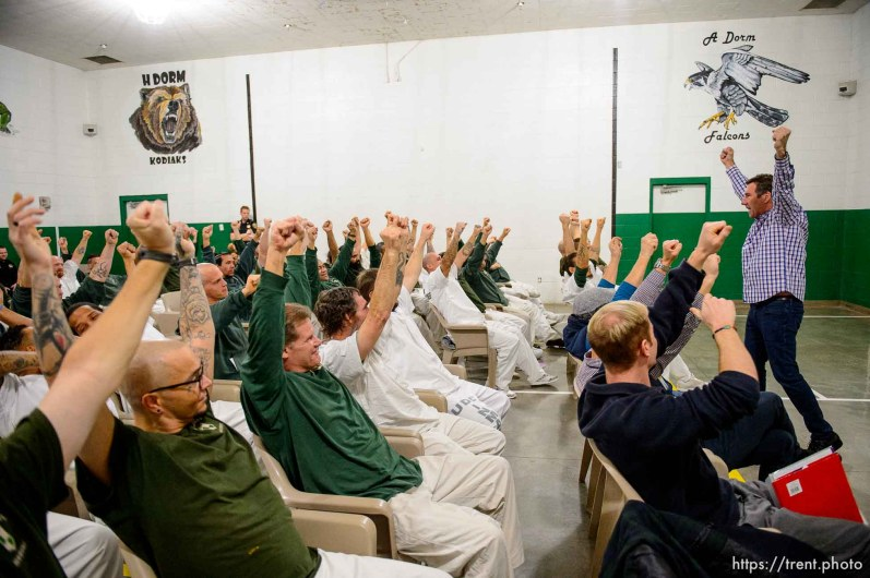 (Trent Nelson | The Salt Lake Tribune) Bob Kitttell gives a motivational talk at a meeting of the New Visions Speech Club at the Utah State Prison's Promontory facility in Draper on Tuesday Dec. 3, 2019.