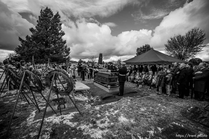 (Trent Nelson | The Salt Lake Tribune) during services for Marine Pfc. Robert J. Hatch at the Bountiful City Cemetery on Saturday Dec. 14, 2019. Hatch was killed in action Nov. 22, 1943 on the island of Betio.