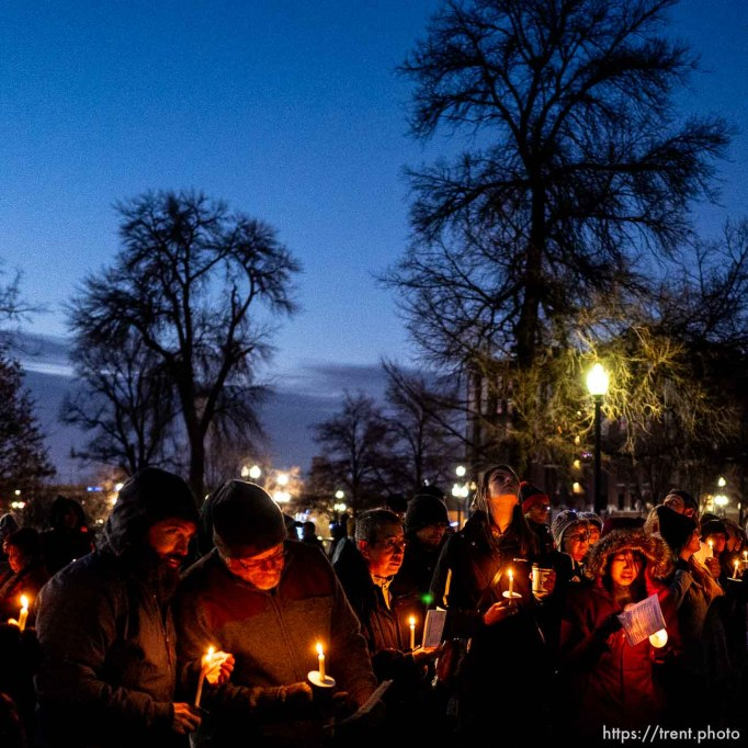 (Trent Nelson | The Salt Lake Tribune) The Homeless Persons' Memorial Candlelight Vigil honored 92 men and women who died while experience homelessness over the past year. The event was held in Salt Lake City's Pioneer Park on Thursday, Dec. 19, 2019.