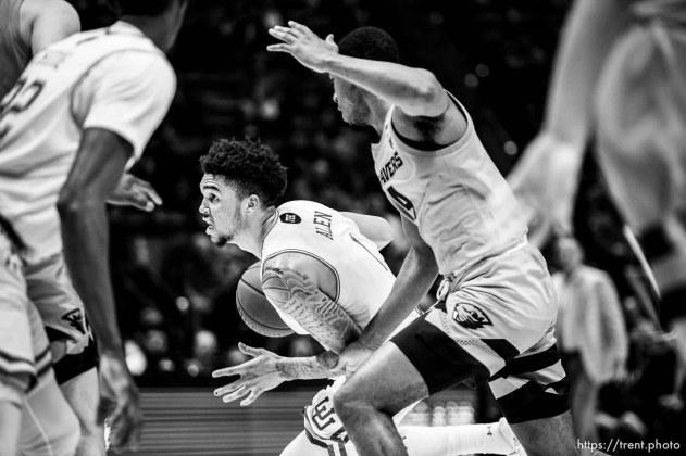 (Trent Nelson | The Salt Lake Tribune) Utah Utes forward Timmy Allen (1) drives to the basket as the University of Utah hosts Oregon State, NCAA men's basketball in Salt Lake City on Thursday, Jan. 2, 2020.