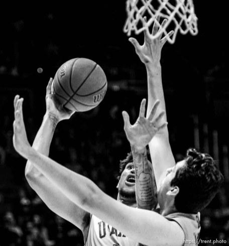 (Trent Nelson | The Salt Lake Tribune) Utah Utes forward Timmy Allen (1) shoots as the University of Utah hosts Oregon State, NCAA men's basketball in Salt Lake City on Thursday, Jan. 2, 2020.