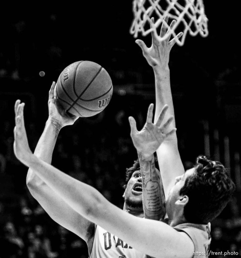 (Trent Nelson   The Salt Lake Tribune) Utah Utes forward Timmy Allen (1) shoots as the University of Utah hosts Oregon State, NCAA men's basketball in Salt Lake City on Thursday, Jan. 2, 2020.